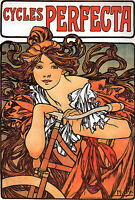 Alphonse Mucha LARGE A3 Size Perfecta Cycles Art Nouveau Deco Print Poster NEW