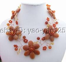 red Aventurine agate Citrine Necklace handmade Statement necklace