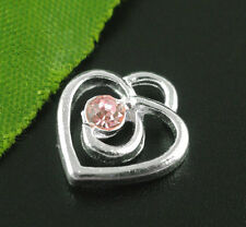 10 SILVER PLATED PINK RHINESTONE HEART CHARM PENDANT ~ TOPPERS ~ SCRAPBOOK (12A)