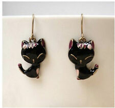 Beautiful Bronze Enamel Black Cat Dangle Hooks Earrings