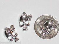 2 Pc Miniature dollhouse tiny Flatbacks crystal sparkly girl Bow bone SKULL *Sv