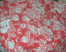 """2 yds Cotton Fabric 44"""" wide Red & White Large Print Tulips Peonies"""
