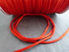 10 Metres (10m) x Red 2mm Rattail Rat Tail Nylon Threading Beading Cord    (F26)