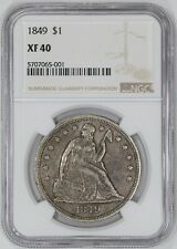 1849 SEATED LIBERTY DOLLAR $1 NGC CERTIFIED XF 40 EXTRA FINE (001)