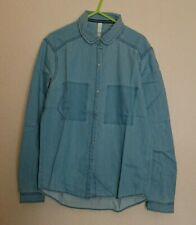 BNWT Women's Adidas Neo Denim Blue-Shirt Size 2 Xs Long Sleeved Popper Buttons