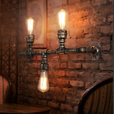 Loft Industrial Iron Rust Water Tube Retro Wall Lamp Vintage E27 Sconce Light