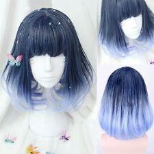 Lolita Stil Damen Blau Ombre Perücken Bob Glatt Gerade Haar Cosplay Partei Wig