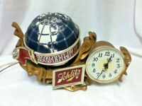 Schlitz beer sign 76 motion spinning globe clock back bar light lighted baroque