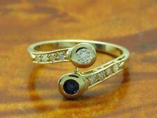 14kt 585 Gelbgold Ring mit Saphir & 0,19ct Brillant & Diamant Besatz / RG 55