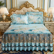 Europe Modal Floral Bedspreads Lace Bed Cover Queen King Quilted Cotton Bedskirt