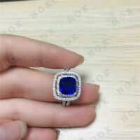 2.00 Ct Cushion Cut Blue Sapphire Diamond Halo Engagement Ring 14K White Gold GP