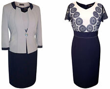 SIZE 20 MOTHER OF THE BRIDE GROOM OUTFIT FORMAL 2 PIECE JACKET DRESS GREY NAVY