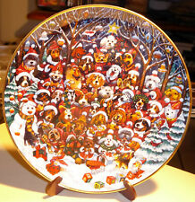 Santa Paws Christmas Dog and Cat Plate Bill Bell Franklin Mint #Le 7625