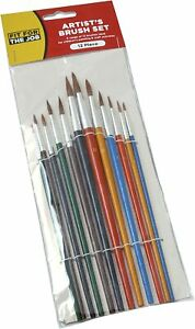 Artist's Brush Set - 12 Brushes, Coloured handles - Fit For The Job
