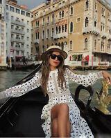 2020 Womens Designer Inspired Abstract Pattern Mesh Slit Long  Maxi Dress