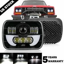 120W 7x6 5X7 LED Headlight Halo DRL For 86-95 Jeep Wrangler YJ 84-01 Cherokee XJ