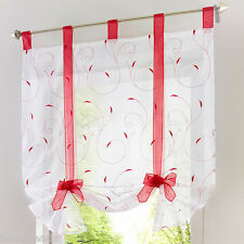 Hot 1x Tab Top Sheer Kitchen Balcony Window Curtain Voile Liftable Roman Blinds