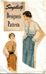 50s Simplicity Designer Sewing Pattern 8250 Misses Sun Dress and Bolero