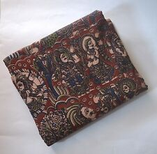 Cotton kalamkari print fabric - 100 cms length by 43 inches Epic Berry Red base
