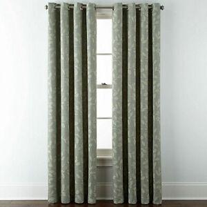 2 Liz Claiborne Quinn Leaf Tennessee Sage Green Grommet Curtain Panels 50 x 108