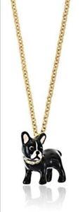 Kate Spade Ma Cherie Antoine Bulldog  boston terrier pendant Long necklace New