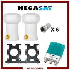 Support Astra & Hotbird + 2 LNB Single + Commutateur DiSEqc 2/1 + 6 Fiches F