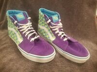 Vans SK8 Hi Purple Cyan Lime Checkerboard Limted Edition Skate Shoes