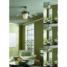 "44"" Small Unique Retractable 8-Blade Ceiling Fan + Remote Brushed Steel Light"