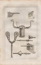 1801 ANTIQUE MILITARY PRINT - ARMOUR PLATE 31 LANCE REST, MUSKET REST