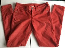 TRUE RELIGION Brand Corduroy Skinny Pants Red Womens SZ 28 SHANNON Jeans MICRO