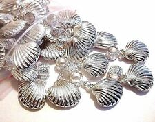50 pc Lot European Charm  Beads  SEASHELL SEA SHELL dangle Ship from USA #C600