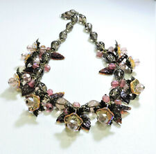 Vintage Amber Pink Purple Flowers Lampwork Art Glass Bead Necklace My20Bn57