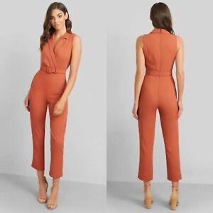 Kookai Burnt Orange Valentine Jumpsuit Size 34 6 Belt Collared V Neck Textured