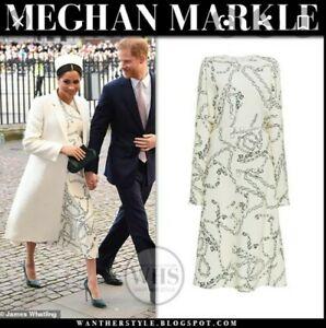 VICTORIA BECKHAM Ivory Chain Print Midi Printed Dress, UK 12 US 8 EU40 Rrp £1390