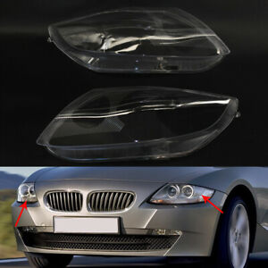 Pair for BMW Z4 E85 2003-2008 Headlight Headlamp Lens Cover Clear Lampshade