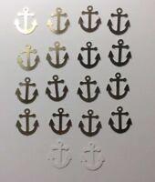 "Nautical Anchors Confetti Lot of 150 Die Cuts Metallic Gold 1"" H"