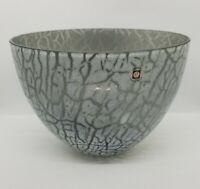 Vintage Tarnowiec Poland Brutalist Hand Blown Art Glass Bowl Gray White