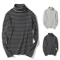 Men Retro Striped Turtleneck Long Sleeve Pullover T-shirt Base Tee Tops Fashion
