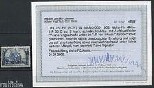 DP Marokko 2 P 50 C 1906 seltener Aufdruckfehler Befund (S7874)
