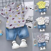 Toddler Kids Baby Boy Short Sleeve Dinosaur Pattern Shirt Tops+ Denim Pants Set