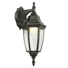 LED Exterior Outdoor Porch Wall Lantern Sconce Clear Glass Black Finish
