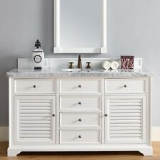 "60"" James Martin Savannah White Single Bathroom Vanity White Carrara Marble Top"