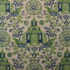 "BALLARD DESIGNS PAGODA GREEN BLUE ASIAN CHINOISERIE LINEN  FABRIC BY YARD 54""W"