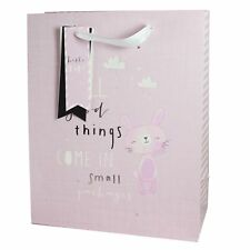 Gift Bag with Tag - 26.5x21cm New Baby - Pink with Bunny