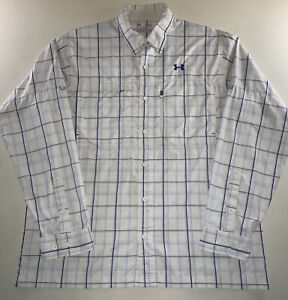 Men's Under Armour Iso-Chill Heat Gear Shirt White Blue Plaid Size X Large NEW