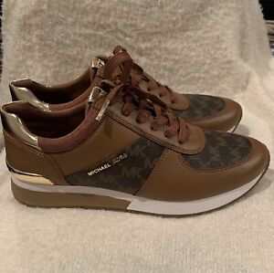NEW Michael Kors Allie Trainer MK Logo Sneakers Luggage Gold Size 9