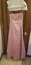 City Triangles Size 5 Pink Spaghetti Strap Beaded Prom Ball Gown with Rouching