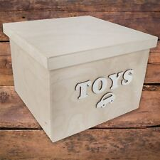 Large Square Storage Box With Removable Lid / 29x29x21 cm / 'TOYS' Bolt Letters
