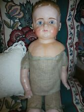 "Antique 24"" Paper Mache Doll Shoulder Head Glass Eyes Patent Washable 1890'S"