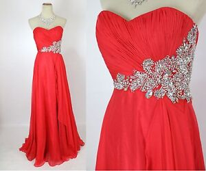 NWT Jovani Size 2 Red Prom Formal Long Gown Dress $500 Strapless Cruise NEW Ball